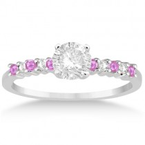 Diamond & Pink Sapphire Engagement Ring 14k White Gold (0.15ct)