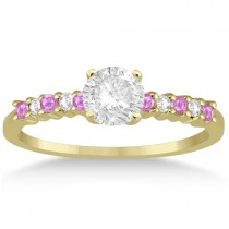 Diamond & Pink Sapphire Engagement Ring 14k Yellow Gold (0.15ct)