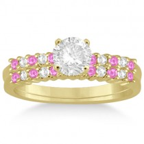 Diamond & Pink Sapphire Bridal Set 14k Yellow Gold (0.35ct)