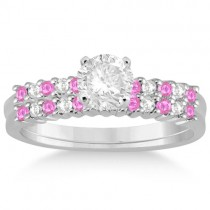 Diamond & Pink Sapphire Bridal Set Palladium (0.35ct)