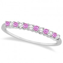 Diamond & Pink Sapphire Wedding Band 14k White Gold (0.20ct)