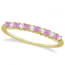 Diamond & Pink Sapphire Wedding Band 18k Yellow Gold (0.20ct)