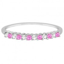 Diamond & Pink Sapphire Wedding Band Platinum (0.20ct)