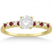 Petite Diamond & Ruby Engagement Ring 14k Yellow Gold (0.15ct)