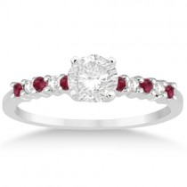Petite Diamond & Ruby Engagement Ring Palladium (0.15ct)