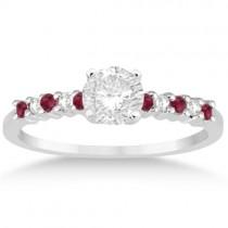 Petite Diamond & Ruby Bridal Set 14k White Gold (0.35ct)