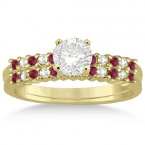 Petite Diamond & Ruby Bridal Set 14k Yellow Gold (0.35ct)