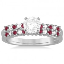 Petite Diamond & Ruby Bridal Set Palladium (0.35ct)