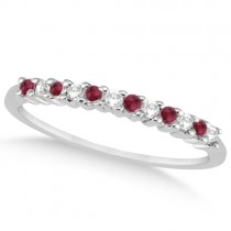 Petite Diamond & Ruby Wedding Band 14k White Gold (0.20ct)