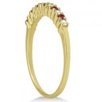 Petite Diamond & Ruby Wedding Band 14k Yellow Gold (0.20ct)