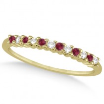 Petite Diamond & Ruby Wedding Band 18k Yellow Gold (0.20ct)