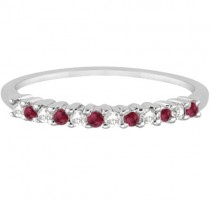 Petite Diamond & Ruby Wedding Band Palladium (0.20ct)