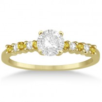 Diamond & Yellow Sapphire Engagement Ring 14k Yellow Gold (0.15ct)