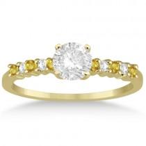 Diamond & Yellow Sapphire Engagement Ring 14k Yellow Gold (0.15ct)