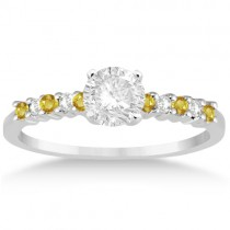 Diamond & Yellow Sapphire Engagement Ring Palladium (0.15ct)