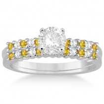 Diamond & Yellow Sapphire Bridal Set 14k White Gold (0.35ct)