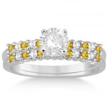 Diamond & Yellow Sapphire Bridal Set 14k White Gold (0.35ct)