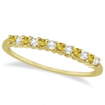 Diamond & Yellow Sapphire Wedding Band 14k Yellow Gold (0.20ct)