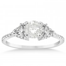 Diamond Halo Trilliant Engagement Ring Setting Palladium 0.27ct