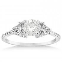 Diamond Halo Trilliant Bridal Set 14k White Gold 0.39ct