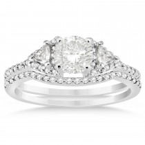 Diamond Halo Trilliant Cut Bridal Set Setting 18k White Gold 0.39ct