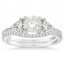 Diamond Halo Trilliant Cut Bridal Set Setting Palladium 0.39ct