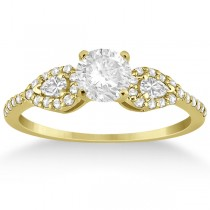 Pear Cut Side Stone Diamond Engagement Ring 18k Yellow Gold (0.33ct)