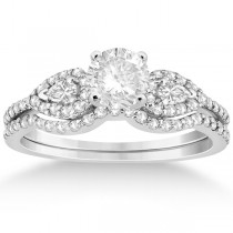 Pear Shaped Diamond Engagment Ring & Band 14k White Gold (0.46ct)