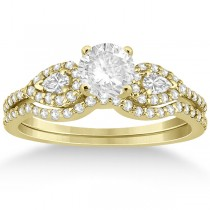 Pear Shaped Diamond Engagment Ring & Band 14k Yellow Gold (0.46ct)