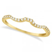 Half Eternity Contour Wedding Band for Women 18k Yellow Gold (0.13ct)