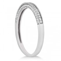 Micro Pave Milgrain Edge Diamond Wedding Ring 14k White Gold (0.18ct)|escape