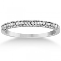 Micro Pave Milgrain Edge Diamond Wedding Ring 14k White Gold (0.18ct)