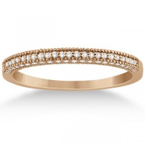 Micro Pave Milgrain Edge Diamond Wedding Ring 18k Rose Gold (0.18ct)