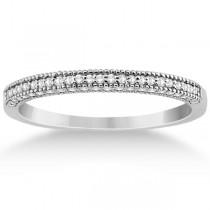 Micro Pave Milgrain Edge Diamond Wedding Ring 18k White Gold (0.18ct)