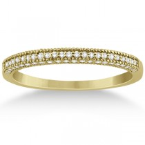 Micro Pave Milgrain Edge Diamond Wedding Ring 18k Yellow Gold (0.18ct)
