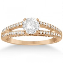 Modern Split Shank Diamond Engagement Ring 18k Rose Gold (0.34ct)