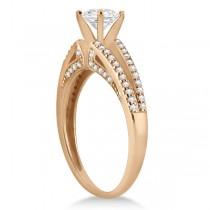 Modern Split Shank Diamond Engagement Ring 18k Rose Gold (0.34ct)