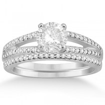Split Shank Diamond Engagement Ring & Wedding Band 14k White Gold