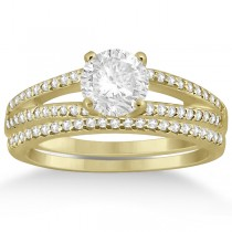 Split Shank Diamond Engagement Ring & Wedding Band 14k Yellow Gold