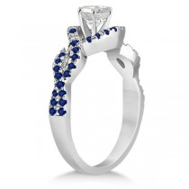 Blue Sapphire Halo Infinity Engagement Ring In 18K White Gold (0.39ct)