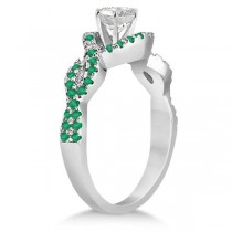 Emerald Halo Infinity Engagement Ring In 18K White Gold (0.39ct)