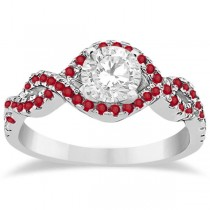 Ruby Halo Infinity Engagement Ring In Platinum (0.39ct)