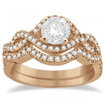 Diamond Infinity Halo Engagement Ring & Band Set 14K Rose Gold (0.60ct)