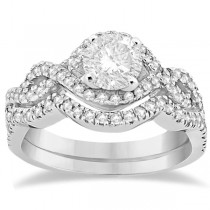 Diamond Infinity Halo Engagement Ring & Band Set 18K White Gold (0.60ct)