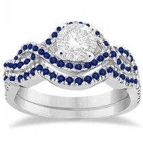 Blue Sapphire Infinity Halo Engagement Ring & Band Set 14K White Gold (0.60ct)
