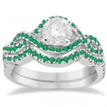 Emerald Infinity Halo Engagement Ring & Band Set 14K White Gold (0.60ct)