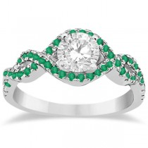 Emerald Infinity Halo Engagement Ring & Band Set 14K White Gold (0.60ct)|escape