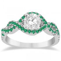 Emerald Infinity Halo Engagement Ring & Band Set Palladium (0.60ct)