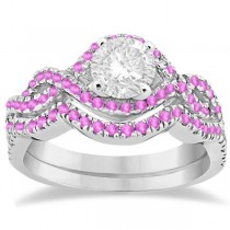 Pink Sapphire Infinity Halo Engagement Ring & Band Set 14K White Gold (0.60ct)
