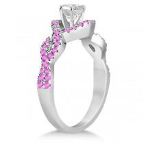 Pink Sapphire Infinity Halo Engagement Ring & Band Set Palladium (0.60ct)